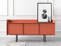 Lacquered sideboard with doors Condo Furniture, Cabinet Furniture, Metal Furniture, Modern Furniture, Furniture Design, Futuristic Furniture, Chair Design, Porte Design, Door Design