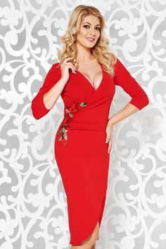 bd5a582d6c StarShinerS red dress elegant with embroidery details with tented cut  flexible thin fabric cloth