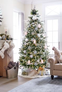 Awesome Silver And White Christmas Tree Decorating Ideas frosted-noel-christmas-tree Noel Christmas, Winter Christmas, Christmas Fireplace, Green Christmas, Christmas Morning, White Christmas Tree Decorations, Holiday Decor, Frosted Christmas Tree, Christmas Tree With White Decorations