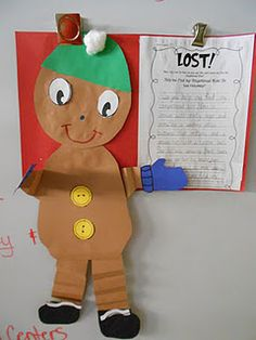 LOST Gingerbread Man writing activity