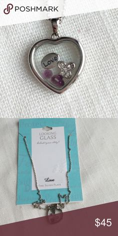 """🔥Closet Liquidation Sale🔥❗️Final Price❗️ Brand: Looking Glass  Condition: Brand new with tags   Color: Silver    Size: 18"""" chain  MSRP: $59.99  Material: Fine Silver Plate  Theme: Love Looking Glass Jewelry Necklaces"""