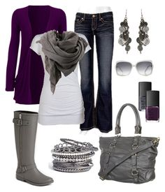 """""""New Fave, Purple and Grey. I want those boots! :D"""" by chelseawate ❤ liked on Polyvore featuring ALDO, BKE, Gucci, Natasha Couture, AllSaints, Bruuns Bazaar and NARS Cosmetics"""