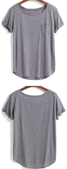 Loose cotton plain pocket t shirt in grey. Come romwe.com. for it&sign up for up to 60% off!