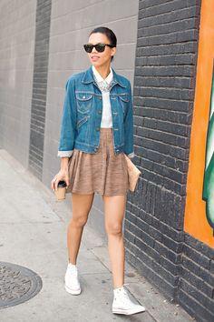 coffee break | denim button down, denim jacket, statement necklace, lace silk shorts & converse