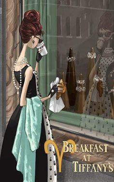 based on the darker novel of truman capote , illustrative art digi print Breakfast at Tiffany's is a 1961 American film starring Audrey Hepburn and George Peppard. Audrey Hepburn, Cartoon Kunst, Photocollage, Breakfast At Tiffanys, Tiffany Blue, Fashion Sketches, Fashion Illustrations, Fashion Art, Trendy Fashion