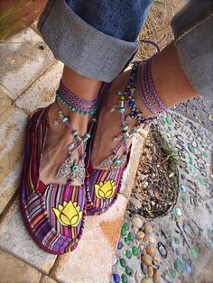Striped LOTUS Canvas SHOES Espadrilles Flats Yellow Lotus Hand painted shoes tribal Mexican women shoes cotton slippers. $45.00, via Etsy.
