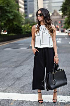 How to Wear Culottes | Black + White