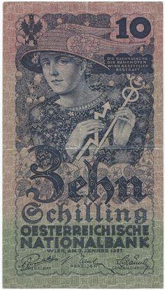 10 Schilling 1927 (Merkur) Gold Money, Heart Of Europe, Retro, Ephemera, Austria, Vintage World Maps, The Past, Stamp, History