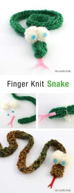 Finger knit snake