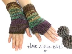 Hand knit fingerless gloves Brown green yellow purple by aynikki, $25.00