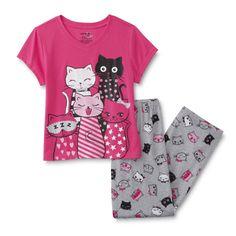Joe Boxer Girl's Pajama Top & Pants - Cats