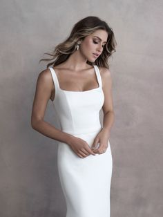 Style: 9810   Allure Bridals Designer Gowns, Designer Wedding Dresses, Minimal Wedding Dress, Crepe Wedding Dress, Bridal And Formal, Bridal Gowns, Bridesmaid Dresses, Allure Bridals, Street Styles