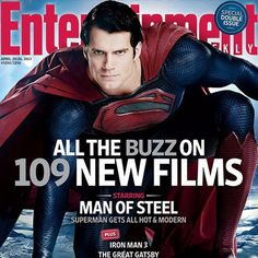 Man of Steel EW Magazine Cover with Henry Cavill as Superman -- Director Zack Snyder's new Superman touches down in the magazine's latest print edition hitting newsstands on Friday. -- http://wtch.it/vhZe6