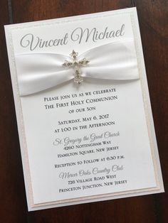 White Baptism-Communion Invitation with by atouchofsunshine4