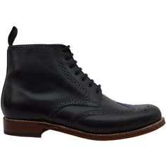 Grenson Black Alfred Wingtip Leather Brogue Boots ($335) ❤ liked on Polyvore featuring shoes, boots, brogue boots, black boots, black oxford shoes, genuine leather boots and real leather boots