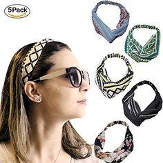 AAPLUS Lot de 5 x Mode Serre-Tête Bandeaux de cheveux couleur élastiques à  cheveux Turban Tissu Foulard Wrap Headwrap Accessoire de Coiffeur pour femme  ... f03905b2135
