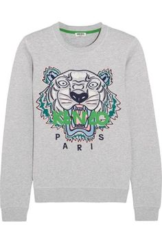 Shop Kenzo Icon Embroidered Cotton Jersey Sweatshirt Light Gray and more Women's Sweats & Hoodies from all the best online stores.