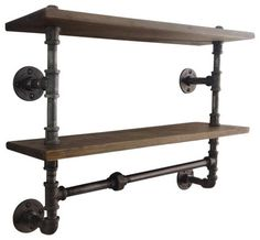 Industrial Pipe Double Shelf - industrial - Wall Shelves - Industrial Home Bazaar