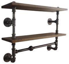 Industrial Pipe Double Shelf - industrial - Wall Shelves - Industrial Home Bazaar