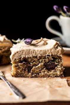 Chocolate Zucchini Banana Cake with Vanilla Coffee Frosting...No fuss, super quick, and SO DELICIOUS...reminds me of a warming spice latte! Cupcakes, Cupcake Cakes, Sorbet, Biscotti, Just Desserts, Delicious Desserts, Yummy Food, Zucchini Banana, Zucchini Bread