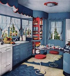 Who wouldn't want a lazy susan pantry like the one in this 1940s kitchen from Mid Century Home Style? Just a little spin and everything is within easy reach.