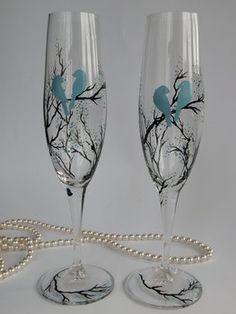 Wedding, Blue, Favors, Branch, Bird, On