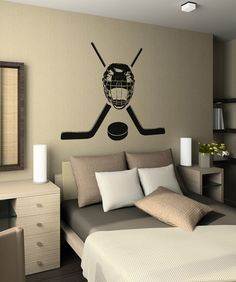 Vinyl Wall Decal Sticker Hockey Equipment Stickerbrand wall art decals, wall graphics and wall murals. Sports Wall Decals, Wall Decal Sticker, Boys Hockey Room, Hockey Mom, Bedroom Themes, Kids Bedroom, Bedroom Ideas, Hockey Decor, Home And Deco