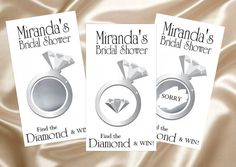 10 - Scratch Off Game Cards - Silver Bridal Shower Diamond Ring on Etsy, $5.99