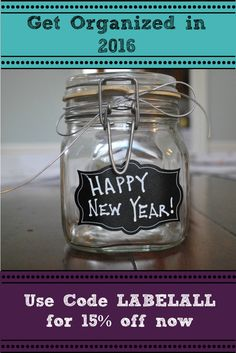 Keep your New Year's Resolution. Organize, collate, catalogue & classify now for 15% OFF! 42 chalkboard labels+FREE chalk marker