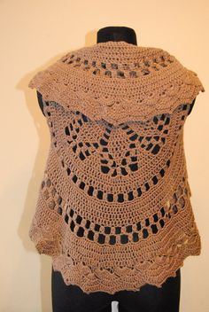 CLEARANCE 50 % Vest brown crochet Bohemian by RamuneCrochet