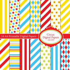 14+A4+Circus+Inspired+Printable+Digital+by+FlutterbyCrafting,+£1.50