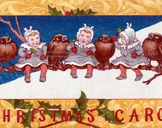 This modern greeting card shows a little boy riding a huge pig with a harness and a bell. He has a basket filled with apples at his side, and theyre falling out as he runs. I am not sure what the tradition is with Scandinavian Jul cards and pigs, but there do seem to be a lot of them! The card is a reproduction of a vintage postcard by artist Jenny Nystrom, circa the 1920s.  You can choose to have this card with a glossy or matte surface, and with or without the caption on the front. Simply…