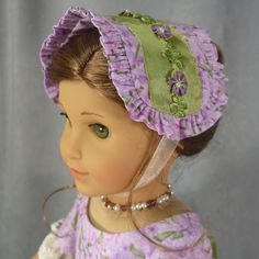 ~LET THERE BE LAVENDER~ American Girl Civil War ruffled lavender/green Bonnet by idreamofjeannemarie via eBay