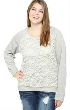 Deb Shops Plus Size Lace Front French Terry Top $17.43