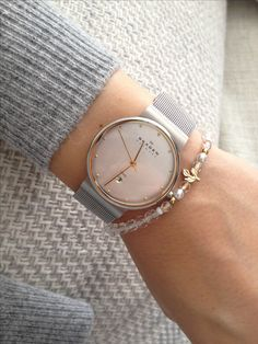 Delicate and minimalistic, Skagen Ladies Two-Tone Mesh Watch - http://www.247homeshopping.com