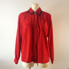 Vintage Women's Blouse  Red Plaid Blouse  by TomieHarleneVintage