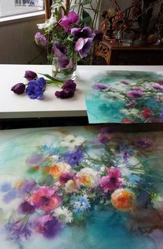 Yuko Nagayama' s home and work place #watercolor #flowers #painting, artist acuarela (20)