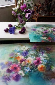 Yuko Nagayama' s home and work place artist acuarela Art And Illustration, Art Floral, Watercolor Flowers, Watercolor Paintings, Watercolors, Art Amour, Japanese Artists, Art Design, Love Art