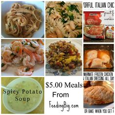 Pin this post and come back later when you need a hand coming up with some frugal meals!  $5.00 Meals from Feeding Big and Friends  http://feedingbig.com/2013/07/5-00-meals.html