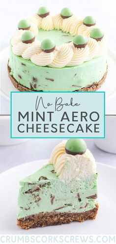 This quick and easy no-bake Mint Aero cheesecake recipe features a velvety peppermint cheesecake filling on top of a dark chocolate Digestive biscuit crust. The cheesecake filling is full of chunks of mint chocolate and chilled until set. Before serving top, with Mint Aero bubbles. A simple and perfect dessert for any time of year. Aero Cheesecake, Mint Chocolate Cheesecake, Peppermint Cheesecake, Baked Cheesecake Recipe, Easy No Bake Cheesecake, Easy No Bake Desserts, Easy Cake Recipes, Fun Desserts, Sweet Recipes