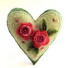 Repurposed Wool Heart Ornament, Flowers, Wool Applique, Embellished