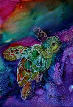 Magical Turtle 1 Original Alcohol Inks on Yupo by kauaiartist, $35.00