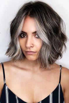 Ash Gray Hair Color, Grey Ombre Hair, Silver Grey Hair, Grey Hair Lob, Silver Ombre Short Hair, Grey Hair Streak, Grey Brown Hair, Grey Bob, Medium Hair Styles