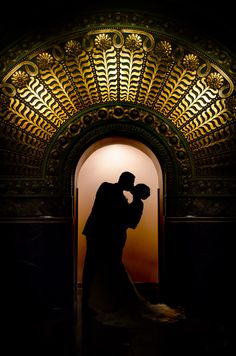 Anna & Tucker in art deco silhouette in Union Station in St. Louis.  Gorgeous photo by Patrick Pope Photography.