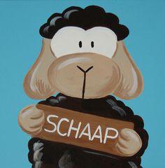 Beestenboel schilderij: Schaap. Bestaat uit een serie van negen schilderijen 30cm bij 30cm. Stephanie Fiseler | Unieke, vrolijke, kleurrijke schilderijen voor baby- & kinderkamers