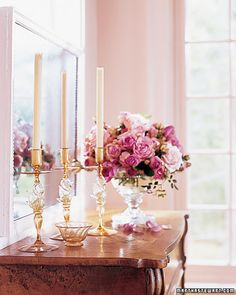 Amber-and-gold Venetian glass candlesticks stand on the Victorian flip-top desk. -- Martha Stewart Living, May 2007 Beautiful Flowers, Pink, Candles, Decor, Guest House, Room Colors, Decorating Details, Pink Room, Home Decor