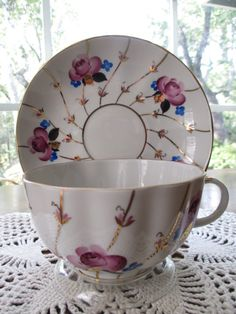 Vintage Lomonosov Tea Cup & Saucer  Antique Rose by aprilleialoha