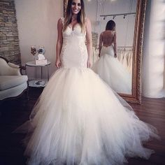Custom made Sweetheart Neckline with Slim Straps Lace/Applique Trumpet/Mermaid Wedding Dresses 2014 Backless Tulle Bridal Gowns $169.00