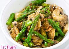 Warm Asparagus & Mushrooms | Fat Flush