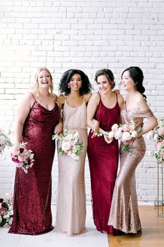 Bridesmaid Dresses Different Colors, Dark Red Bridesmaid Dresses, Wine Color Bridesmaid Dress, Sparkly Bridesmaids, Winter Wedding Bridesmaids, Bridesmaid Ideas, Spring Wedding, Gold And Burgundy Wedding, Champagne And Red Wedding
